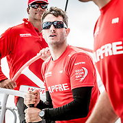 © María Muiña I MAPFRE: Blair Tuke entrenando a bordo del MAPFRE. Blair Tuke training on board MAPFRE.