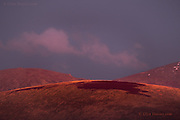 A long shot of Moel Wnion after sunset, taken from Anglesey. I've always been fascinated by the wonderful rounded profile of this mountain, and in this soft, subdued colourful light, the scene looked like a geometric painting.