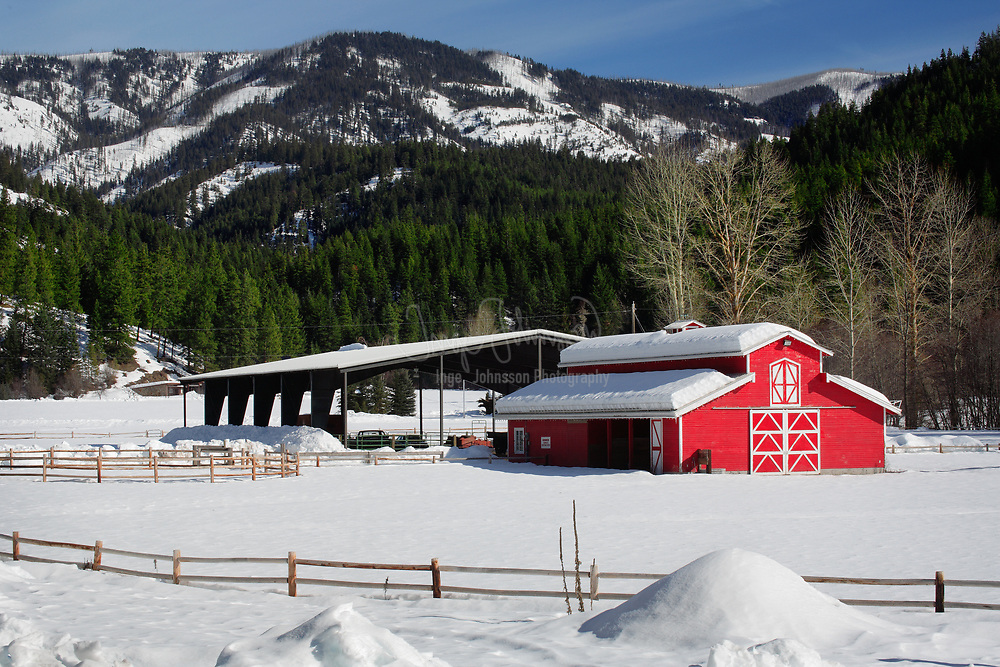 Barn near Leavenworth, Washington in winter