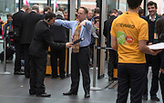 © Licensed to London News Pictures. 15/03/2015. Liverpool, UK Michael Crick, TV presenter, passes thorough security. The Liberal Democrat Spring Conference in Liverpool 15th March 2015. Photo credit : Stephen Simpson/LNP