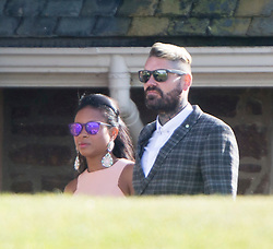 Shane Lynch and partner. Ronan Keating wedding to Storm Uechtritz at Archerfield today.