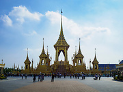 13 DECEMBER 2017 - BANGKOK, THAILAND:  The north side of the Royal Crematorium on Sanam Luang in Bangkok. The crematorium was used for the funeral of Bhumibol Adulyadej, the Late King of Thailand. He was cremated on 26 October 2017. The crematorium is open to visitors until 31 December 2017. It will be torn down early in 2018. More than 3 million people have visited the crematorium since it opened to the public after the cremation of the King.     PHOTO BY JACK KURTZ