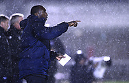 Jimmy Floyd Hasselbaink, the manager of Northampton Town makes his point from the touchline. . EFL Skybet Football League one match, Northampton Town v Portsmouth at the Sixfields Stadium in Northampton on Tuesday 12th September 2017. <br /> pic by Bradley Collyer, Andrew Orchard sports photography.