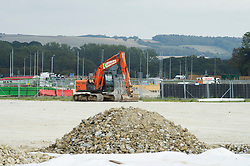 ©Licensed to London News Pictures 11/09/2020  <br /> Ashford, UK. Construction work on the 27 acre site near junction 10a of the M20. The new Brexit lorry park in Ashford, Kent will be able to hold 2000 lorries. Details about the new lorry park have been revealed in letters to local residents outlining the governments plans for the site to be used as a border control post and holding area for trucks heading to Dover. credit:Grant Falvey/LNP