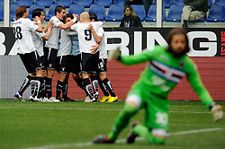 07.03.2010, Stadio Luigi Ferraris, Genua, ITA, Serie A, Sampdoria vs Lazio Rom, im Bild Jubel Lazio, EXPA Pictures © 2010, PhotoCredit: EXPA/ InsideFoto/ Marco Rosi / for Slovenia SPORTIDA PHOTO AGENCY.