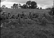 "Army Exercises In Co Sligo.   (L37).<br /> 1977.<br /> 05.09.1977.<br /> 09.05.1977.<br /> 5th September 1977.<br /> The Army Reserve Brigade, which is made up of regular units from the Southern Command, are conducting a series of conventional military exercises in counties Mayo and Sligo from the 5th to the 9th September. Approximately 1,500 men and 250 vehicles are involved. The exercise was codenamed ""Humbert"" after an ill fated expedition by French troops into Ireland on 23rd August 1798. 1,100 French troops with Irish support took on the incumbent English forces. After some initial success they were defeated at Ballinamuk on 8th Sept 1798 by the army of Cornwallis.<br /> <br /> Members of the 4th Infantry batallion are pictured taking up defensive positions during the exercise.<br /> (L-R). Pte Wayne O'Connor,Pte Francis Wyse, Corp Dan Downey,Corp Paddy Hartnell, Pte Patrick Deasy,Pte Patrick Mahoney, Pte Colin O'Brien,Pte Gerry Fogarty,Pte Billy Collins, Pte Derry Hegarty and Corp Ger Sheehan."