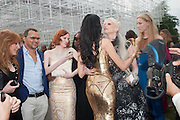 KAREN ELSON; L'WREN SCOTT; KRISTEN MCMENAMY, The Serpentine Summer Party 2013 hosted by Julia Peyton-Jones and L'Wren Scott.  Pavion designed by Japanese architect Sou Fujimoto. Serpentine Gallery. 26 June 2013. ,