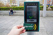 A Robin Hood pay-as-you-go card that can be used on buses and trams in Nottingham, Nottinghamshire, United Kingdom.