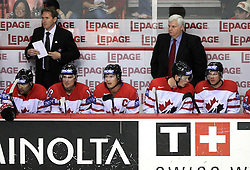 Team Canada and Head Coach Ken Hitchcock (bach right) at ice-hockey match Canada vs Latvia (with replika jerseys from year 1936) at Preliminary Round (group B) of IIHF WC 2008 in Halifax, on May 04, 2008 in Metro Center, Halifax, Nova Scotia, Canada. (Photo by Vid Ponikvar / Sportal Images)