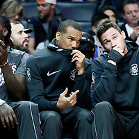 04 March 2018: LA Clippers guard Avery Bradley (11) is seen on the bench next to LA Clippers forward Danilo Gallinari (8) and LA Clippers forward Montrezl Harrell (5) during the LA Clippers 123-120 victory over the Brooklyn Nets, at the Staples Center, Los Angeles, California, USA.