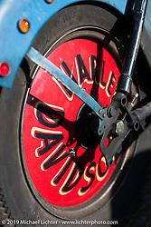 Rod Davis' (Stripped Down Cycles, Dubois, IL) Panhead at the AMCA swap meet in New Smyrina, FL during Daytona Bike Week, FL., USA. March 8, 2014.  Photography ©2014 Michael Lichter.
