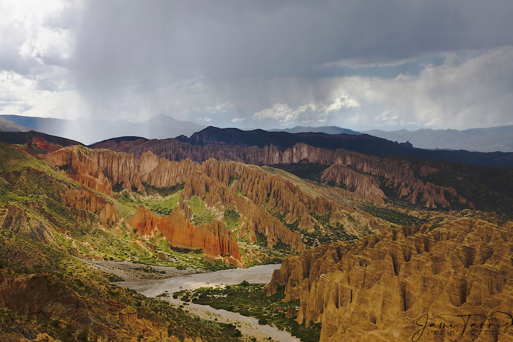 Stormy and cloudily skies over red rocks and badlands near Tupiza,  Bolivia,South America