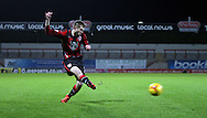 Tom Barkhuizen strikes during the Sky Bet League 2 match between Morecambe and Cambridge United at the Globe Arena, Morecambe, England on 24 November 2015. Photo by Pete Burns.