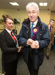 © Licensed to London News Pictures . 04/12/2015 . Oldham , UK . UKIP candidate JOHN BICKLEY arrives at the Oldham West and Royton by-election , at the Queen Elizabeth Hall in Oldham . The by-election was called following the death of MP Michael Meacher . Photo credit : Joel Goodman/LNP