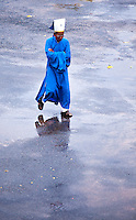 Cao Dai priest weairng blue to signify tolerance and pacifism while representing the Taoist aspects of their religion.