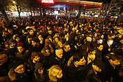 """French and Jews come together to make a vigil outside a Kosher supermarket in Porte Vincennes, Paris, France. Yesterday this Kosher supermarket was the scene of a hostage taking and followed by an armed shoot out between Jihadist gunmen and French police. It ended in a shoot out and with the death of the terrorists. Some hostages were killed and police injured.<br /><br />This event was directly linked to the attack on the offices of Charlie Hebdo, killing twelve people, including the editor and celebrated cartoonists two days before. This week was the deadliest week of terror attacks in France for over fifty years. Charlie Hebdo is a satirical publication well known for its political cartoons. <br /><br />As a solidarity actions with the deaths at Charlie Hebdo many placards read """"Je suis Charlie"""" translating as """"I am Charlie (Hebdo)"""". Demonstrators held aloft pens, brushes and crayons, symbolizing the profession of journalists and cartoonists who were killed."""