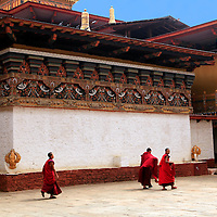 Asia, Bhutan, Punakha. Monks walking across Assembly Hall courtyard of Punakha Dzong.