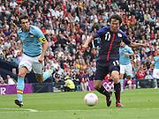 Men's Olympic Football match Spain v Japan on 26.7.12...Kensuke Nagai of Japan and Javier Martinez of Spain, during the Spain v Japan Men's Olympic Football match at Hampden Park, Glasgow...Picture John Millar / ProLens PhotoAgency / PLPA.Thursday 26th July 2012......................