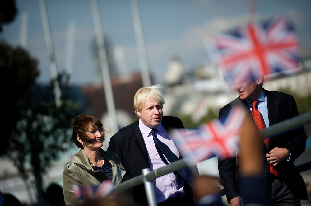London.  September 26, 2008.  London Mayor Boris Johnson  and Olympic Minister Tessa Jowell MP take the stage for the 2012 Olympic flag handover ceremony in Potter Fields Park at noon.  Lord Sebastian Coe, 400m gold medal winner Christine Ohuruogu, 1948 Olympians, and 2012 hopefuls were also in attendance.  (Photo by Mark Bryan Makela)