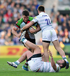 Nick Easter (Harlequins) takes on the London Irish defence - Photo mandatory by-line: Patrick Khachfe/JMP - Tel: Mobile: 07966 386802 29/03/2014 - SPORT - RUGBY UNION - The Twickenham Stoop, London - Harlequins v London Irish - Aviva Premiership.