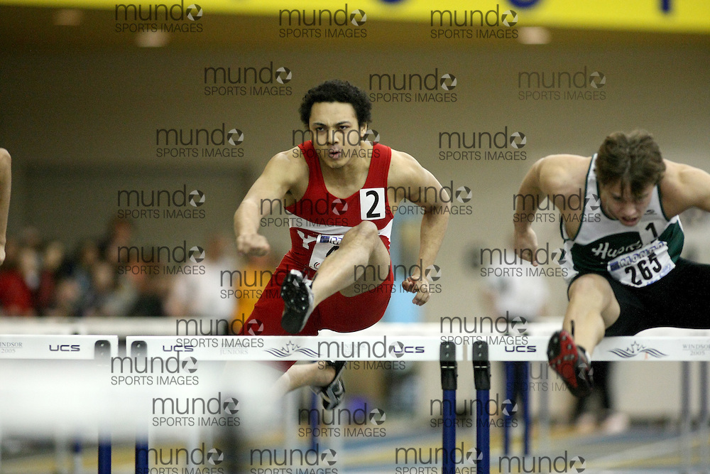 Windsor, Ontario ---13/03/09--- Elijah Allen of  York University competes in the 60m Hurdle Prelims at the CIS track and field championships in Windsor, Ontario, March 13, 2009..Sean Burges Mundo Sport Images