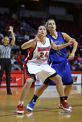 01 January 2009: Emily Hanley boxes out Kelsey Woodard. The game between the Creighton Bluejays and the Illinois State Redbirds ended with the Redbirds on top by a score of 63-43 on Doug Collins Court inside Redbird Arena on the campus of Illinois State University, Normal IL.