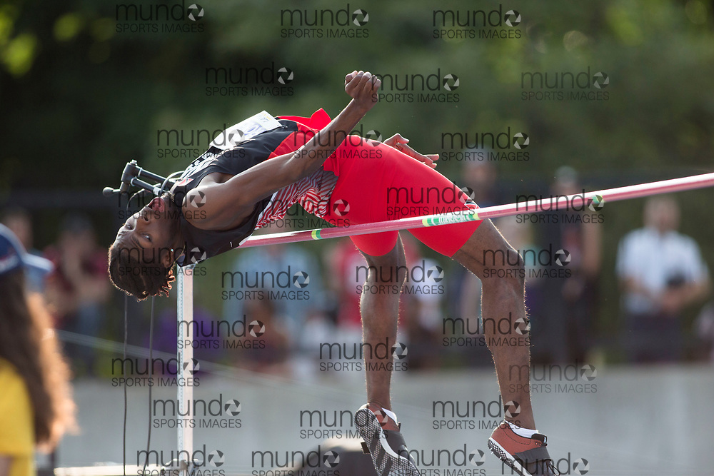 Toronto, ON -- 11 August 2018: Kareem Roberts (Trinidad and Tobago), high jump at the 2018 North America, Central America, and Caribbean Athletics Association (NACAC) Track and Field Championships held at Varsity Stadium, Toronto, Canada. (Photo by Sean Burges / Mundo Sport Images).