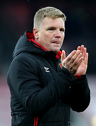 """AFC Bournemouth manager Eddie Howe celebrates after the final whistle during the Premier League match at the Vitality Stadium, Bournemouth. PRESS ASSOCIATION Photo. Picture date: Saturday March 17, 2018. See PA story SOCCER Bournemouth. Photo credit should read: Mark Kerton/PA Wire. RESTRICTIONS: EDITORIAL USE ONLY No use with unauthorised audio, video, data, fixture lists, club/league logos or """"live"""" services. Online in-match use limited to 75 images, no video emulation. No use in betting, games or single club/league/player publications."""