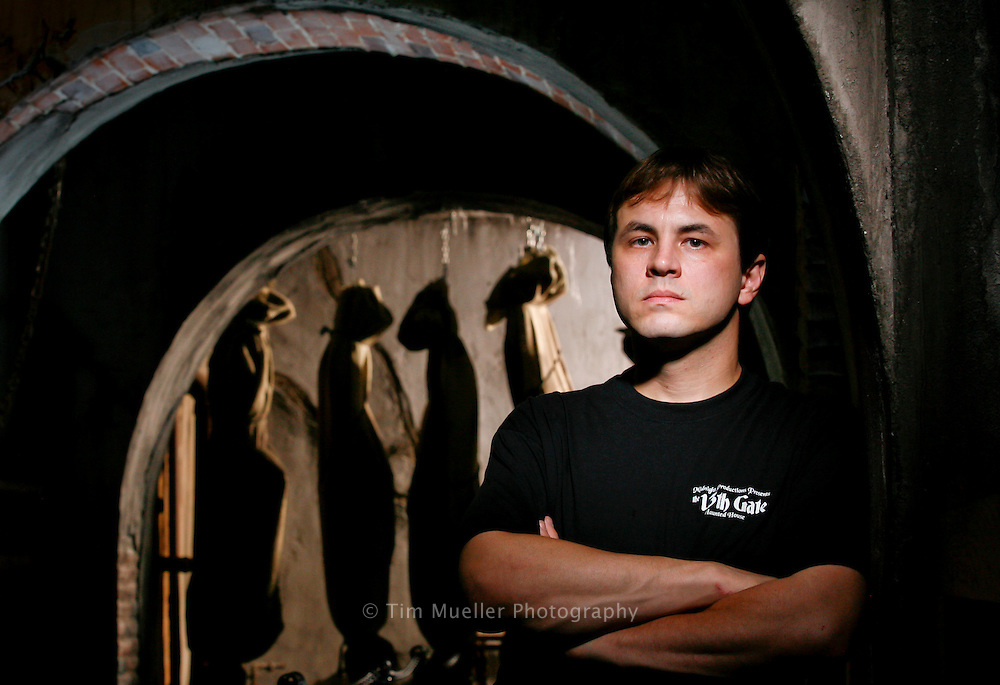 13th Gate Haunted House owner and designer Dwayne Sanburn stands in the lobby of his 40,000-square-foot facility in Baton Rouge, Louisiana.