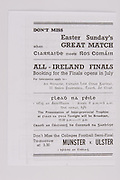 Interprovincial Railway Cup Football Cup Final, 17.03.1945, 03.17.1945, 17th March 1945,  Connacht 0-06, Leinster 2-05,.Interprovincial Railway Cup Hurling Cup Final, 17.03.1945, 03.17.1945, 17th March 1945,  Ulster 2-00, Munster 6-08
