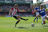 Alan Judge of Brentford takes a shot at goal. Skybet football league Championship match, Brentford v Ipswich Town at Griffin Park in London on Saturday 8th August 2015.<br /> pic by John Patrick Fletcher, Andrew Orchard sports photography.