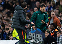 Football - 2019 / 2020 UEFA Champions League - Group H: Chelsea vs. Ajax<br /> <br /> The Fourth Official will not respond to Frank Lampard,  Manager of Chelsea FC,  as he questions the official about the lack of time added on at Stamford Bridge <br /> <br /> COLORSPORT/DANIEL BEARHAM