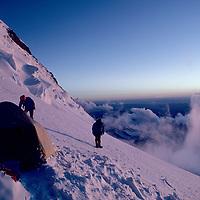MOUNTAINEERING, Himalaya, Climbers at Camp 3 (21,500') on Mt. Nun in Kashmir, In