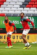 Charlton Athletic midfielder Mark Marshall (7) and Charlton Athletic defender Anfernee Dijksteel (2) warm up prior to the The FA Cup 2nd round match between Charlton Athletic and Doncaster Rovers at The Valley, London, England on 1 December 2018. Photo by Toyin Oshodi