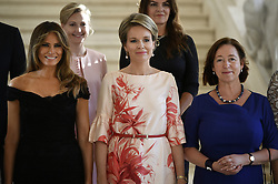 May 25, 2017 - Brussels, BELGIUM - First Lady of the US Melania Trump, Queen Mathilde of Belgium and Stoltenberg's partner Ingrid Schulerud pictured before a diner of the First Ladies and Queen at the Royal castle in Laken/Laeken, on Thursday 25 May 2017, in Brussels. US President Trump is on a two day visit to Belgium, to attend a NATO (North Atlantic Treaty Organization) summit on Thursday. BELGA PHOTO YORICK JANSENS (Credit Image: © Yorick Jansens/Belga via ZUMA Press)