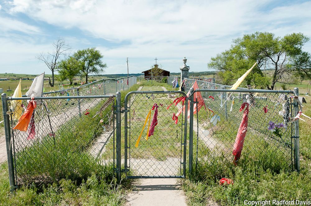 The cemetery at Wounded Knee, where those killed in the winter of 1890 where buried in a pit.