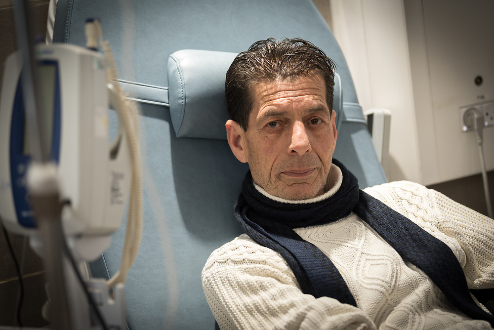24 February 2020, Jerusalem: 24 February 2020, Jerusalem: 60-year-old Sameer Ibrahim Karajaha from Ramallah, sits in his chair to receive Chemotherapy treatment at the Augusta Victoria Hospital.