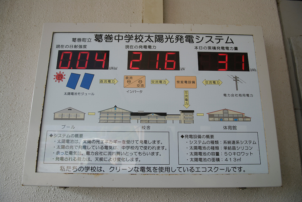 """A display show the rate of power generation from the solar panels at Kuzumaki Junior High School. Kuzumaki in Northern Japan bills itself as a town of """"Milk, wine and clean energy"""". The 8000 population town has little local industry so Kuzumaki invited Japanese companies to set up wind, solar and biogas generating plants."""