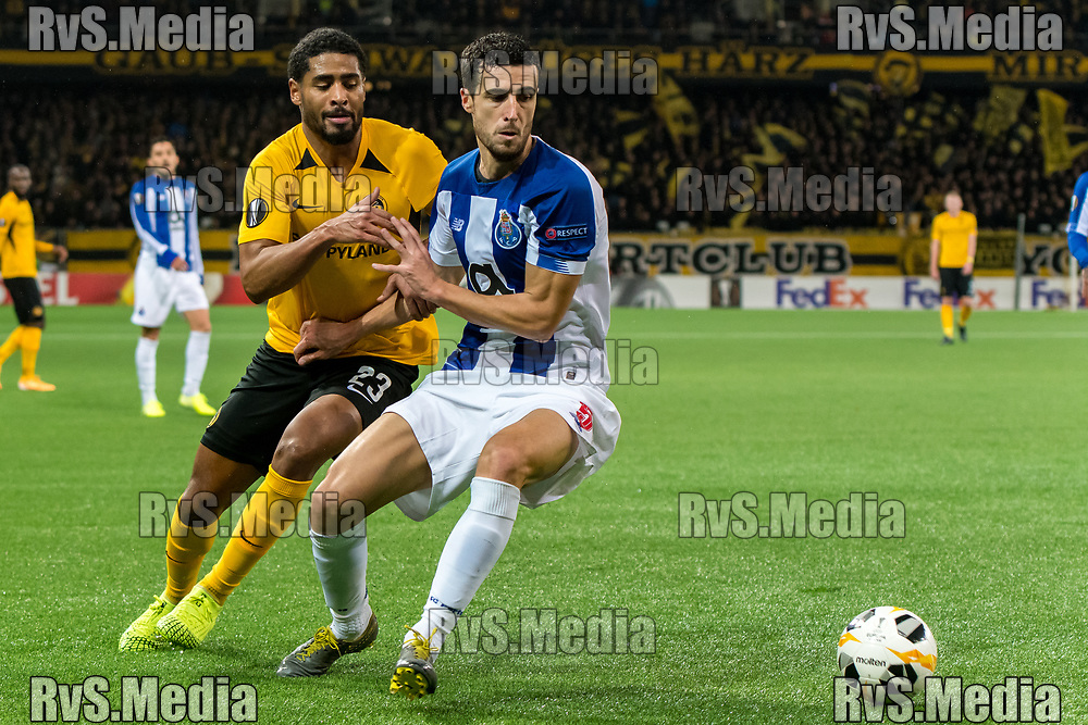 BERN, SWITZERLAND - NOVEMBER 28: #5 Ivan Marcano of FC Porto battles for the ball with #23 Saidy Janko of BSC Young Boys during the UEFA Europa League group G match between BSC Young Boys and FC Porto at Stade de Suisse, Wankdorf on November 28, 2019 in Bern, Switzerland. (Photo by Basile Barbey/RvS.Media)