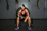 Muay Thai fighter Mary Ann Orsburn poses for portraits at Fitness For $10 in Milpitas, California, on March 16, 2014. (Stan Olszewski/SOSKIphoto)