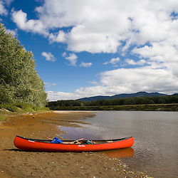 A canoe on the Connecticut River in Maidstone, Vermont.