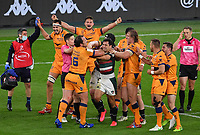 Rugby Union - 2020 / 2021 European Rugby Challenge Cup - Final - Leicester Tigers vs Montpellier - Twickenham<br /> <br /> Montpellier's Bismarck Du Plessis gets to grips with Leicester Tigers' Matias Moroni at the final whistle.<br /> <br /> COLORSPORT/ASHLEY WESTERN