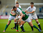 England flanker George Nott drives at the Ireland defence during the World Rugby U20 Championship Final   match England U20 -V- Ireland U20 at The AJ Bell Stadium, Salford, Greater Manchester, England onSaturday, June 25, 2016. (Steve Flynn/Image of Sport)
