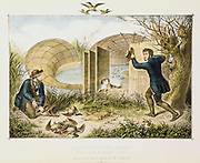 Lincolnshire Duck Decoy showing end and front views. Wild duck decoyed into mouth of net covering curving ditch or 'pipe'. Dog trained to drive birds to narrow end where the birds were caught and killed. Common practice on the Cambridgeshire Fens and Norfolk Broads. Most birds were sent to the  London market. Hand-coloured lithograph c1845.