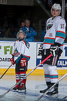 KELOWNA, CANADA - JANUARY 30: A Pepsi Save On Foods Player of the Game lines up beside Tomas Soustal #15 of Kelowna Rockets against the Victoria Royals on January 30, 2016 at Prospera Place in Kelowna, British Columbia, Canada.  (Photo by Marissa Baecker/Shoot the Breeze)  *** Local Caption *** Tomas Soustal; Pepsi Save ON Foods Player;