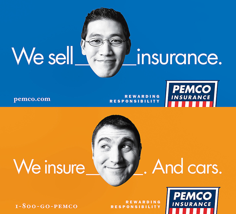 Pemco billboards of BW cutout faces.
