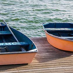 Skiffs on the dock in Wellfleet Harbor in  Wellfleet, Massachusetts. Cape Cod.