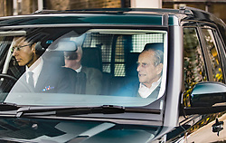 © Licensed to London News Pictures. 13/04/2018. London, UK. HRH PRINCE PHILIP, The Duke of Edinburgh is seen leaving King Edward VII Hospital by a mews exit before driving past the front door following a hip operation. The Duke underwent an hour-long, planned operation on Wednesday last week at the private hospital in central London. Photo credit: Peter Macdiarmid/LNP
