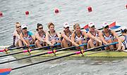 "Rio de Janeiro. BRAZIL.  USA W8+ Bow. REGAN, Emily Kerry SIMMONDS,  Amanda POLK, Lauren SCHMETTERLING, Tessa GOBBO, Megahn MUSNICKI, Elaenor LOGAN, Amanda ELMORE, Kateli SNYDER.<br />  2016 Olympic Rowing Regatta. Lagoa Stadium,<br /> Copacabana,  ""Olympic Summer Games""<br /> Rodrigo de Freitas Lagoon, Lagoa.   Monday  08/08/2016 <br /> <br /> [Mandatory Credit; Peter SPURRIER/Intersport Images]"