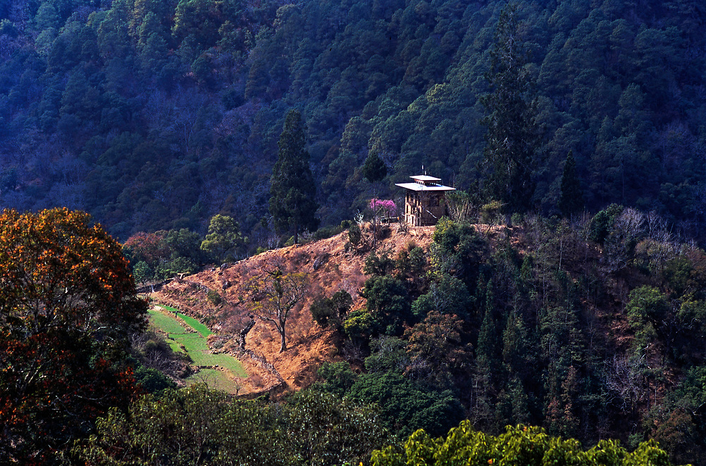 Rural tree clad hillsides surround the town of Punakha, Bhutan